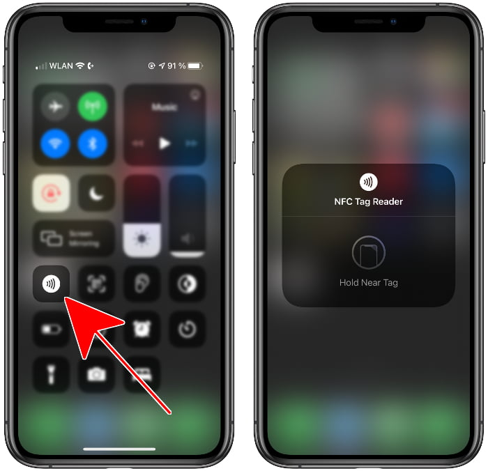 Activate NFC Tag Reader in the Control Center